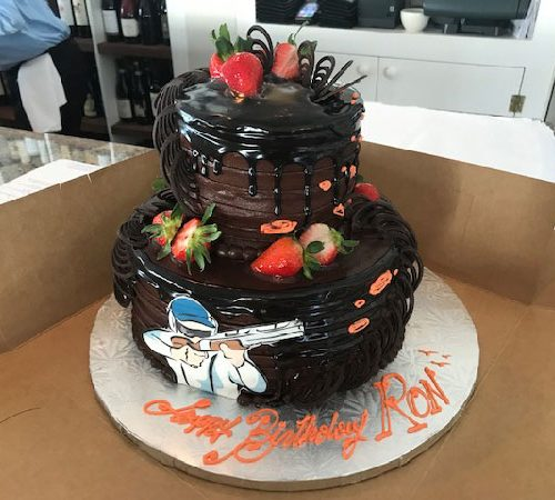 Triple Chocolate Stacked Custom Cake